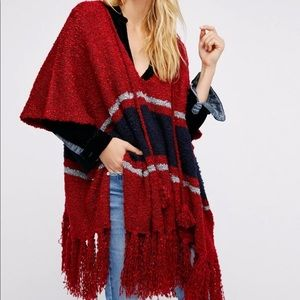 FREE PEOPLE Juno Striped Boucle Poncho - One Size